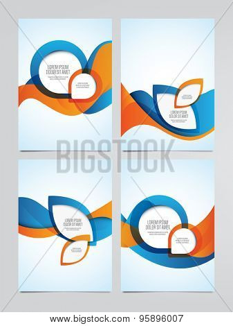 Vector business brochure, flyer templates. Set of modern orange and blue corporate designs.