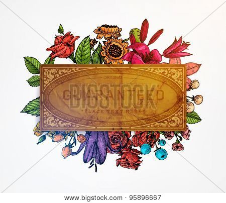 Vintage Vector Card with Engraving Flowers. Frame for Logo, Label. Retro Floral Design. Roses, Leaves, Lilies, Tulips and other Flowers.