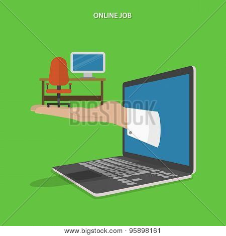 Online job searching flat vector concept.