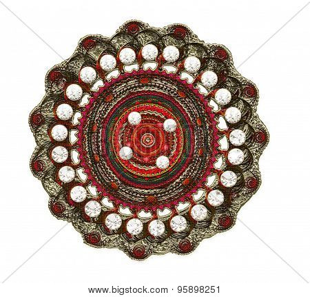 Fractal Illustration Of A Brooch Of Silver With Precious Stones