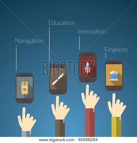 Flat Design Vector Illustration Concept For Online Services. Concepts For Hand Touching Smart Phones