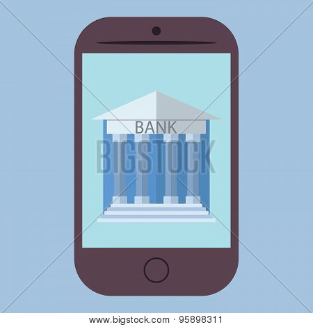 Flat Design Vector Illustration Of Smart Phone With Bank Icon. Concept For Online Banking, On Color