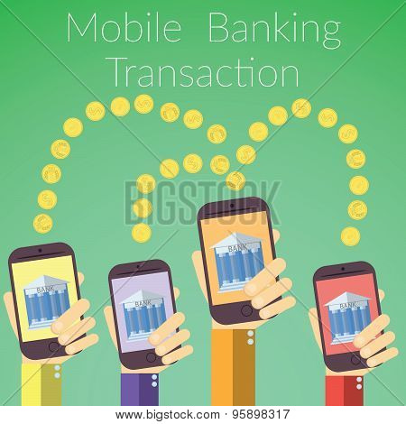 Flat Design Vector Illustration Of Hands Holding Smart Phones With Bank Icon. Concept For Online Ban