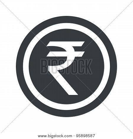 Round black rupee sign