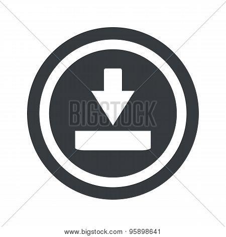 Round black download sign