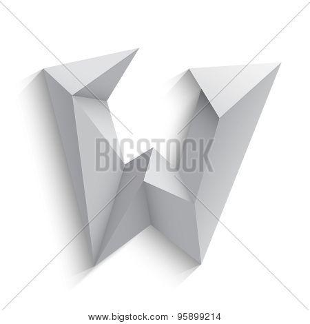 Vector illustration of 3d letter W on white background.