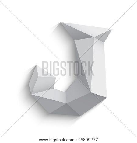 Vector illustration of 3d letter J on white background.