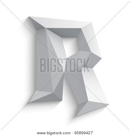 Vector illustration of 3d letter R on white background.