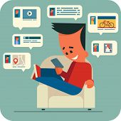 picture of video chat  - Cartoon young man sitting in a armchair and chatting online with friends using smartphone - JPG