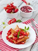 pic of french-toast  - French toast with berries and jam for breakfast - JPG