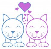 stock photo of enamored  - Two happy enamored cats with hearts - JPG