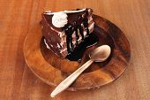 ������, ������: sweet brownie chocolate cream cake topped with white chocolate and cream with chocolate with chocola