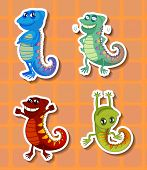 image of chameleon  - Stickers of four different colorful chameleons - JPG