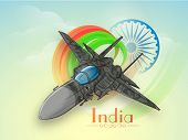foto of indian independence day  - Creative fighter plane making national flag colors in the sky with Ashoka Wheel on cloudy background for Indian Independence Day celebration - JPG