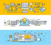 picture of online education  - Thin line flat design banners for video tutorials - JPG