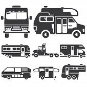stock photo of truck-cabin  - set of 8 silhouette camper van - JPG