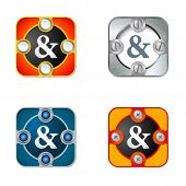 picture of ampersand  - Vector simple objects with screws and ampersand - JPG