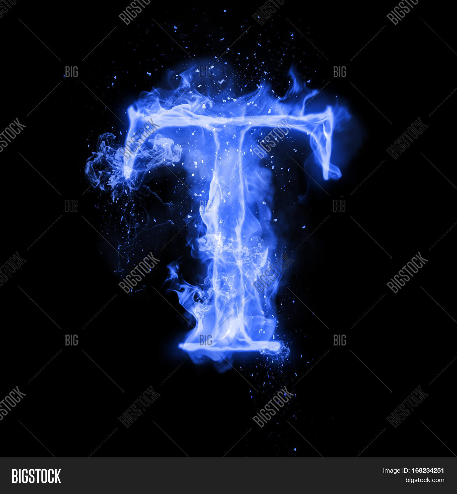 Fire Letter T Burning Blue Flame. Image & Photo   Bigstock