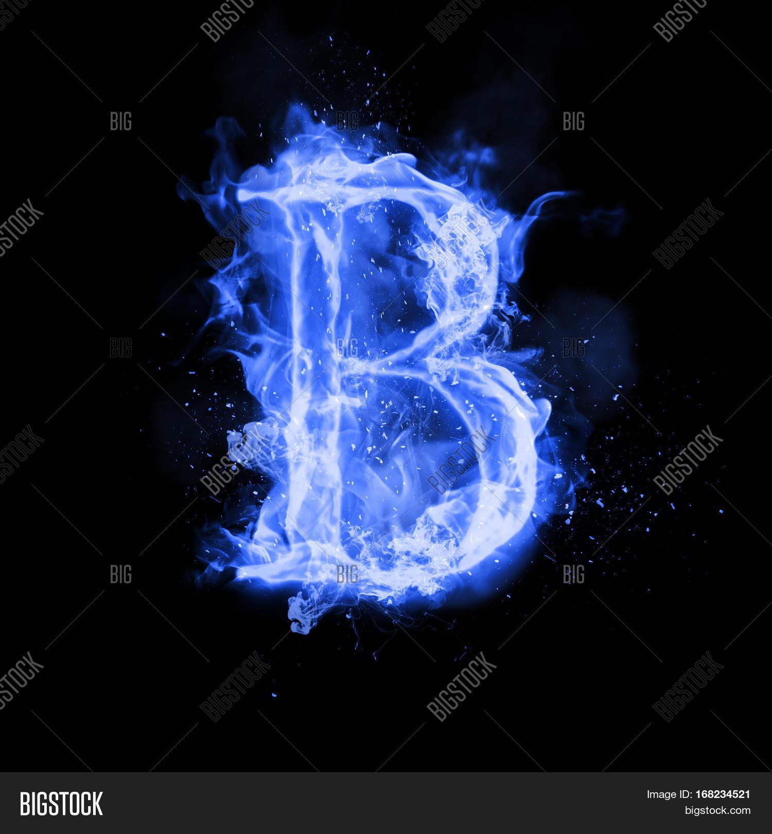 R Letter In Blue Fire Fire Letter B Burning ...