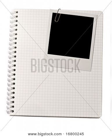 Spiral notepad and blank vintage photo