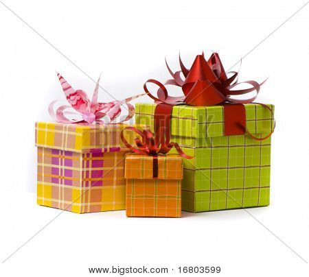Three gift box studio shot