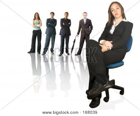 Business Teamwork - Woman With Her Team