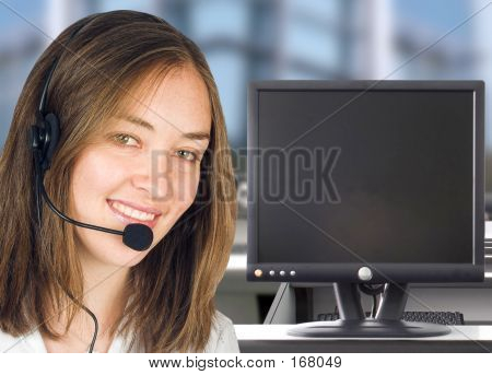 Friendly Customer Services With Computer Screen