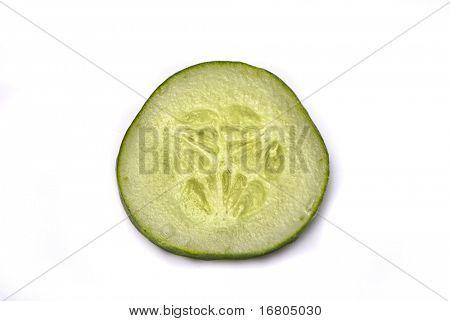 Cucumber slice on white background