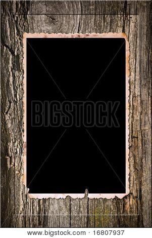 Vintage photo card in wooden frame