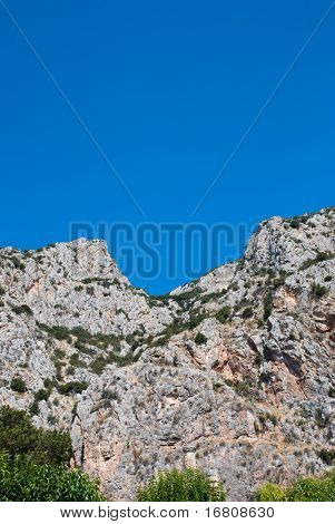 Mountain ridge and the blue sky
