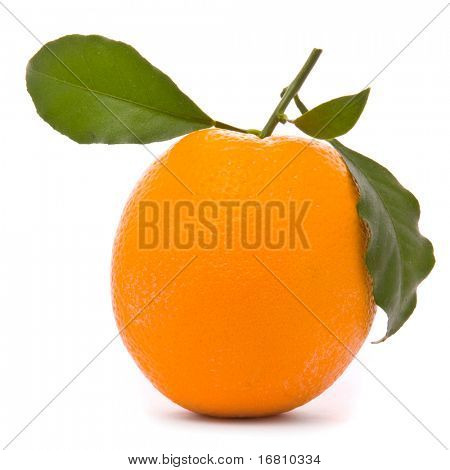 Fresh orange isolated on a studio white background.
