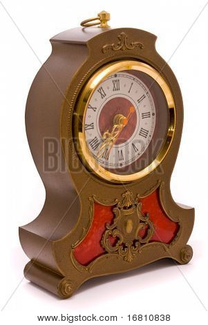 Vintage stylish clock on a white background
