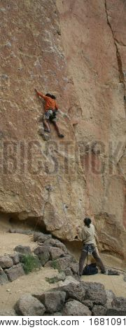 Climber On Unprotected Face Route