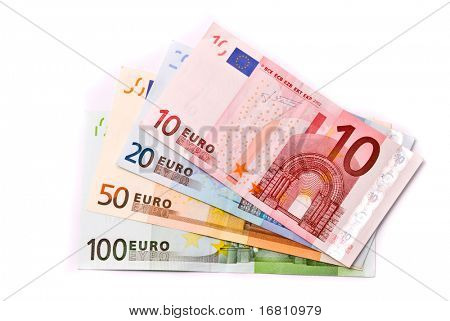 Euro banknotes isolated on a white with soft shadows
