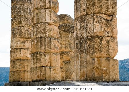 Columns of the temple of Apollo in Delphi. Greece