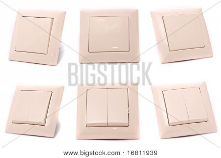 Light switches set on a white background