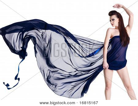 Glamour Sensuality Woman With Chiffon