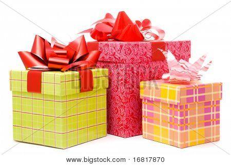 Three gift box studio shot