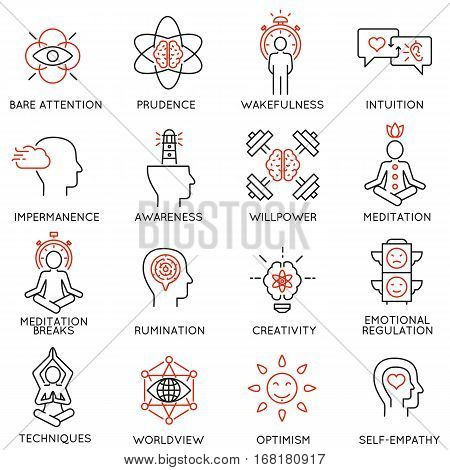Vector set of 16 linear icons related to mindfulness awareness consciousness and mental conditions. Mono line pictograms and infographics design elements - part 2