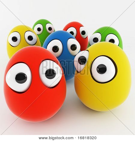 funny eggs as a cartoon 3d