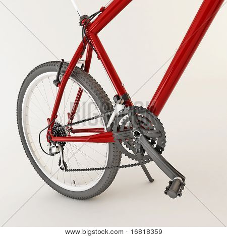 3d red bicycle. Isolated on light
