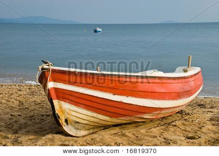 Wooden boat on beach