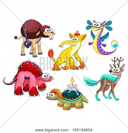 Group of funny strange animals. Cartoon vector isolated characters.