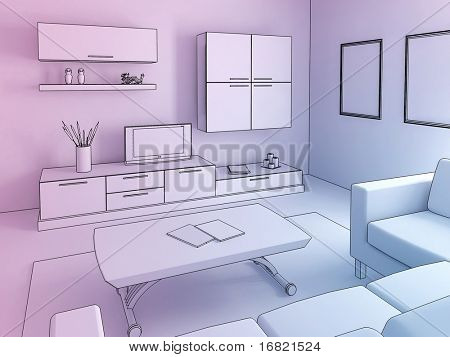 modern livingroom illustration 3d