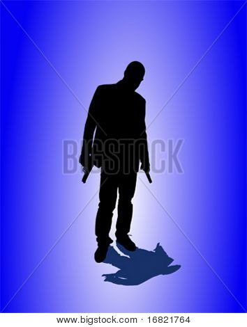 man with pistol vector image