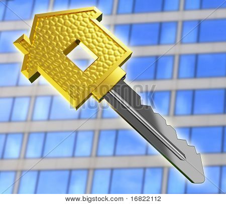Isolated gold dream house key