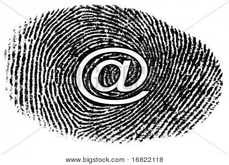 email symbol on finger print image background