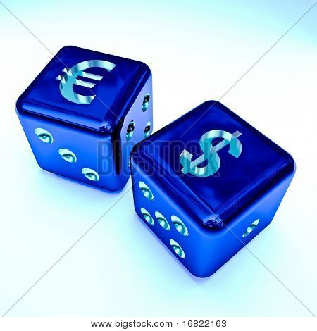 image 3d of dice with dollar and euro sign