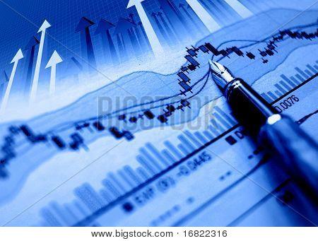 blaue Diagrammhintergrund, finanzielle Stat und Pfeile