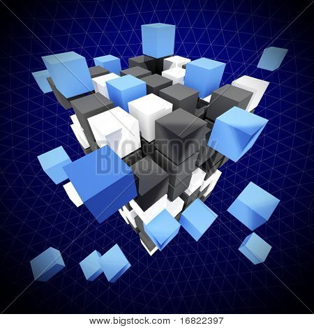 fine abstract  background 3d cube construction